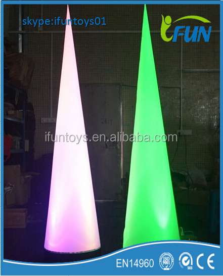 LED decors inflatable lighting cone for party / LED inflatable cones tube / inflatable led cone event decorations