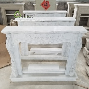 french style carved white marble fireplace mantel for decorative house