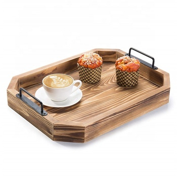 Wholesale Bamboo Wood Serving Trays / Platters with Metal Handles/bamboo food tray
