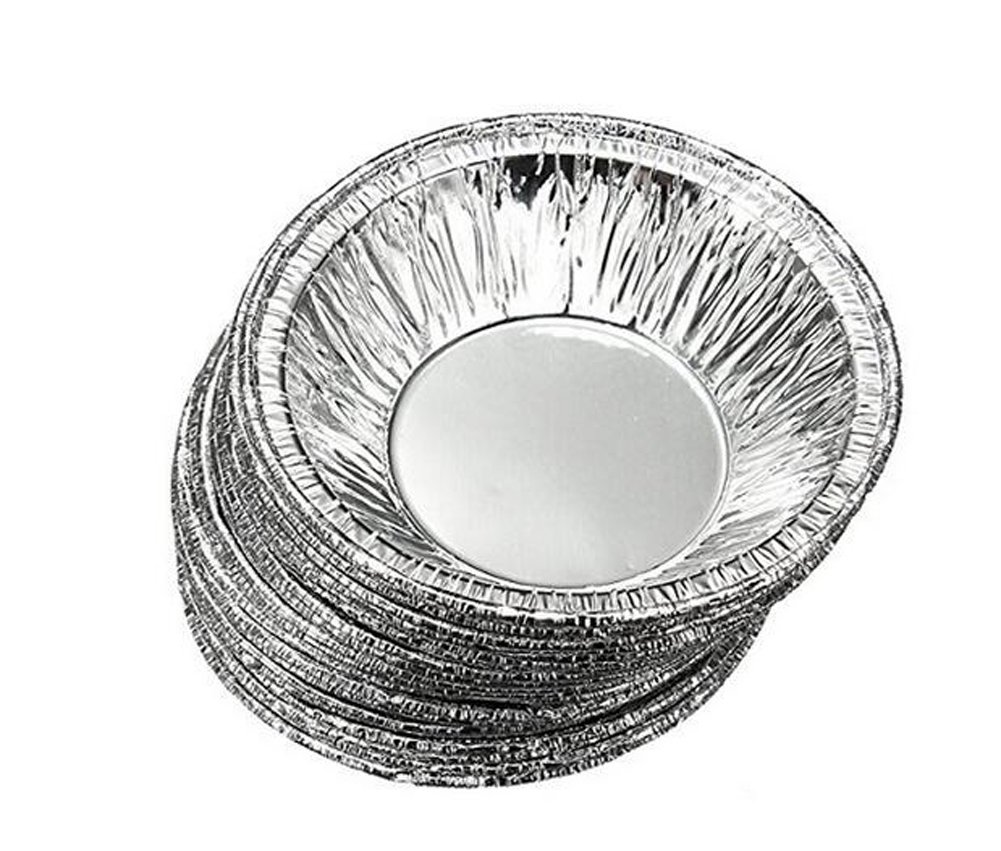 100PCS Disposable Aluminum Foil Pie Dishes Cake Cases Cupcake Cookie Pudding Egg Tart Lined Mold Round