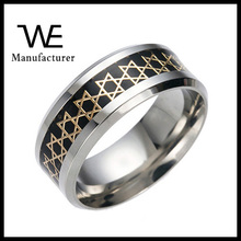 2016 Cheap Bulk Stainless Steel Wafer Rings Jewish Jewelry For Unisex