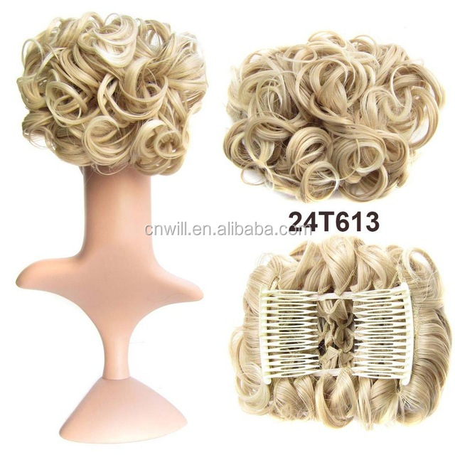 Chignon Synthetic Hair Donut Two Plastic Comb Easy Fast Bun Hairpiece Hair Bun