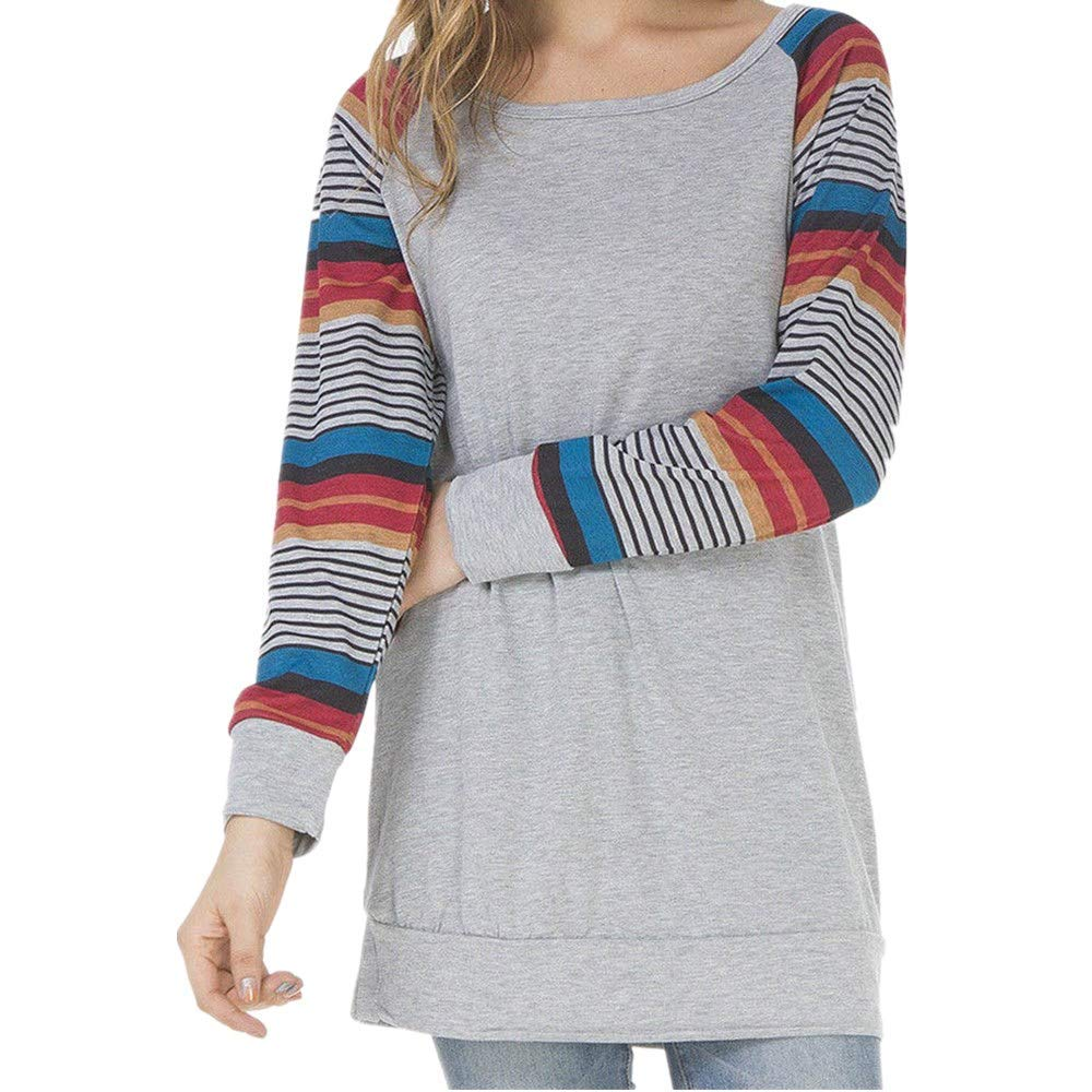 Womens Long Sleeve Crew Neck Tunics Loose Fit Casual Print Tops FDelinK Womens Tunics