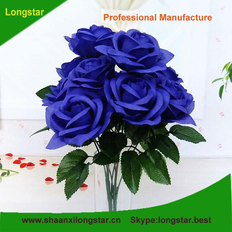 Nouveau Design Pas Cher Artificielle Ouvert Bleu Rose Fleur Tige