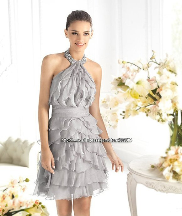 Custom Made Sheath Halter Beading Chiffon Ruffles Mini Short Skirt Backless Wedding Designer Pretty Bridesmaid Dress Party Gowns