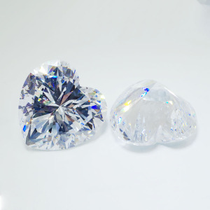 30*30mm AAAAA heart shape cubic zirconia loose gemstone custom cut white zircon in loose gemstone