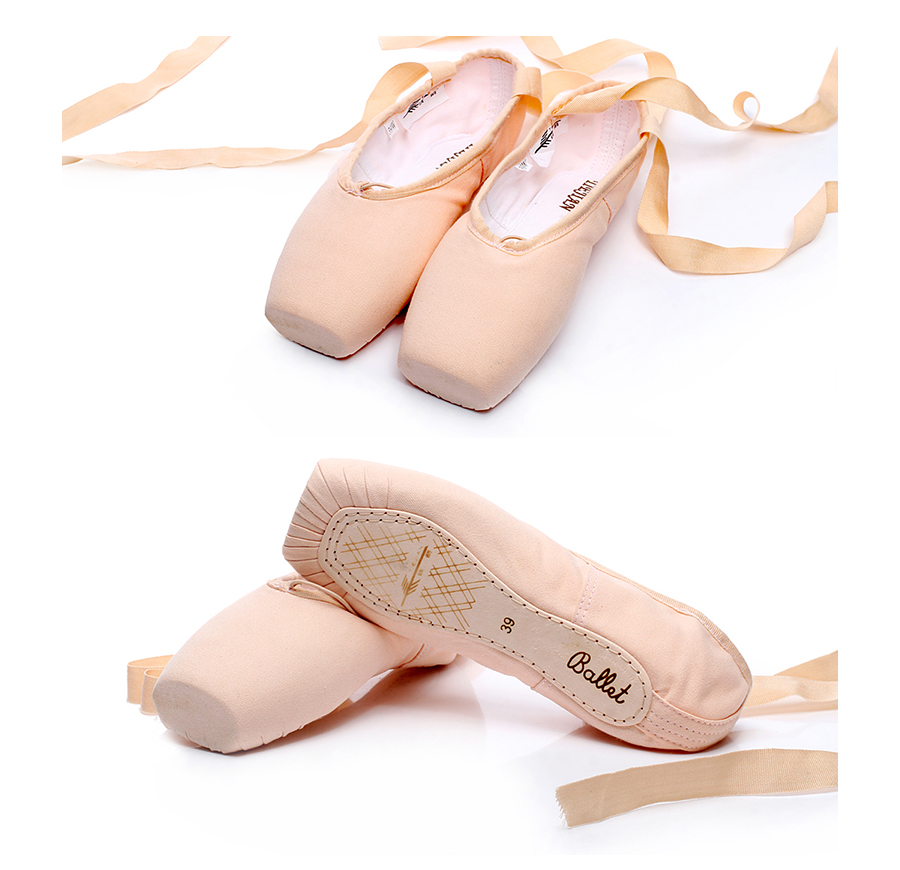 Adult Women Retro Durable Beginners Practice Ballet Shoes With Ribbons Red Black  Professional Dance Pointe Shoes For Girls