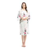 Women Short Silk Satin Bath Robe for Bride and Bridesmaid Wedding Party Kimono Robe