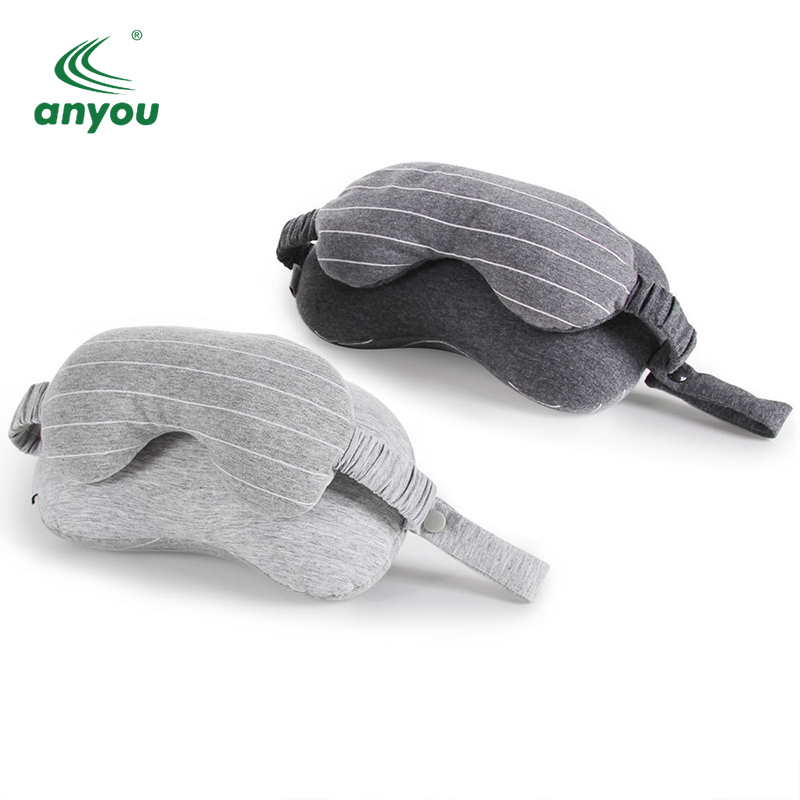 Wholesale Multi-functional memory foam U-shape travel neck pillow with eye mask Earplug