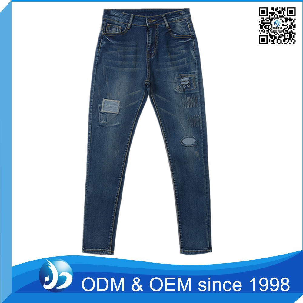 Factory Price Embroidered Ladies Wholesale No Name Brand Jeans