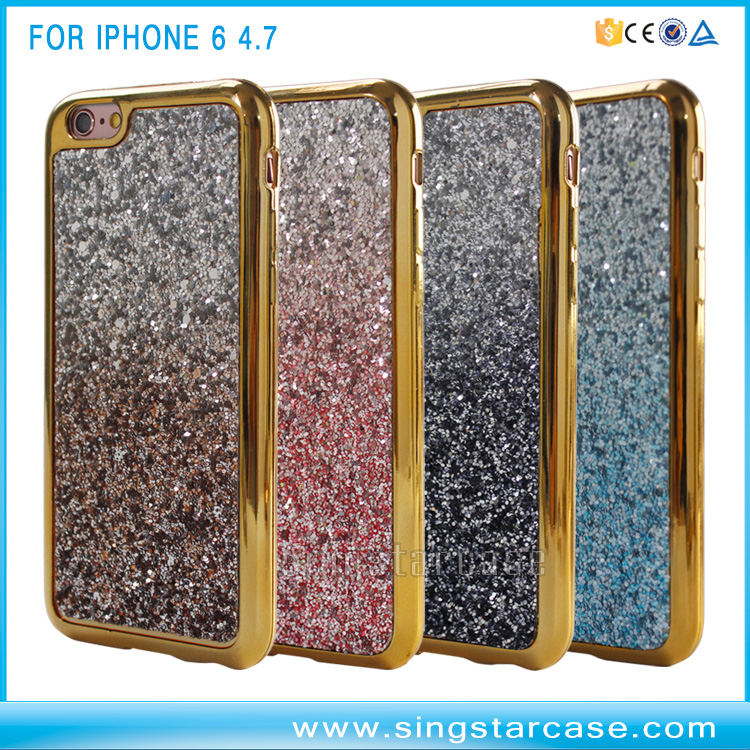 Luxury Paste PU Groove TPU Electroplated Bumper Phone Case For iPhone 6 Housing Custom