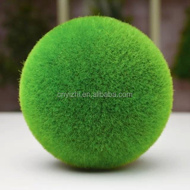 Yzp40 Wholesale Artificial Green Grass Ball Quality Product Moss Adorable Decorative Grass Balls