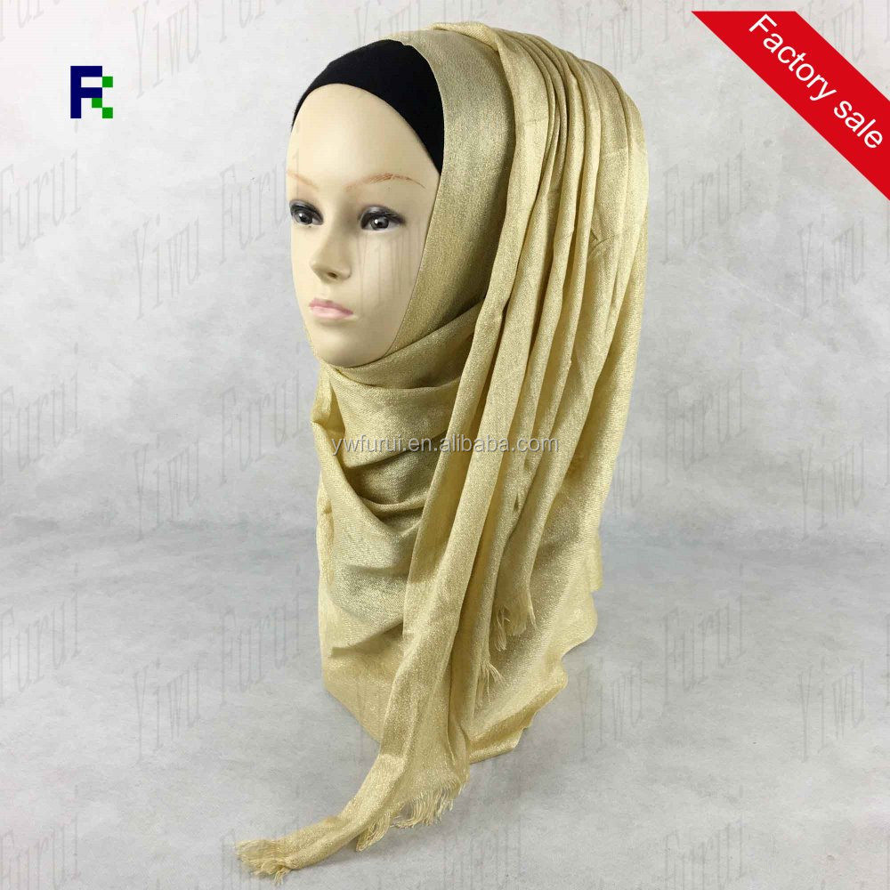 New Style Muslim Glitter Viscose Hijab Plain Solid Color Shinny Scarves Shawl Lurex Long Wraps