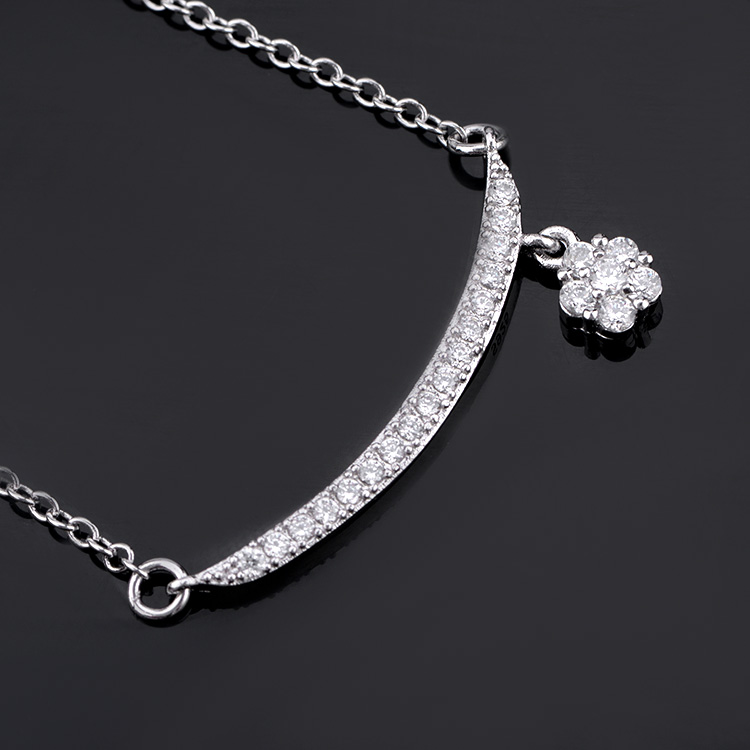 Low price high quality bar silver fashion necklace with charm