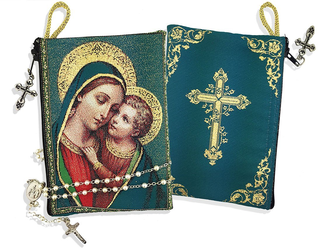 Set of 2 Rosary With Madonna and Child Tapestry Rosary Icon Pouch 5 3//8 Inch