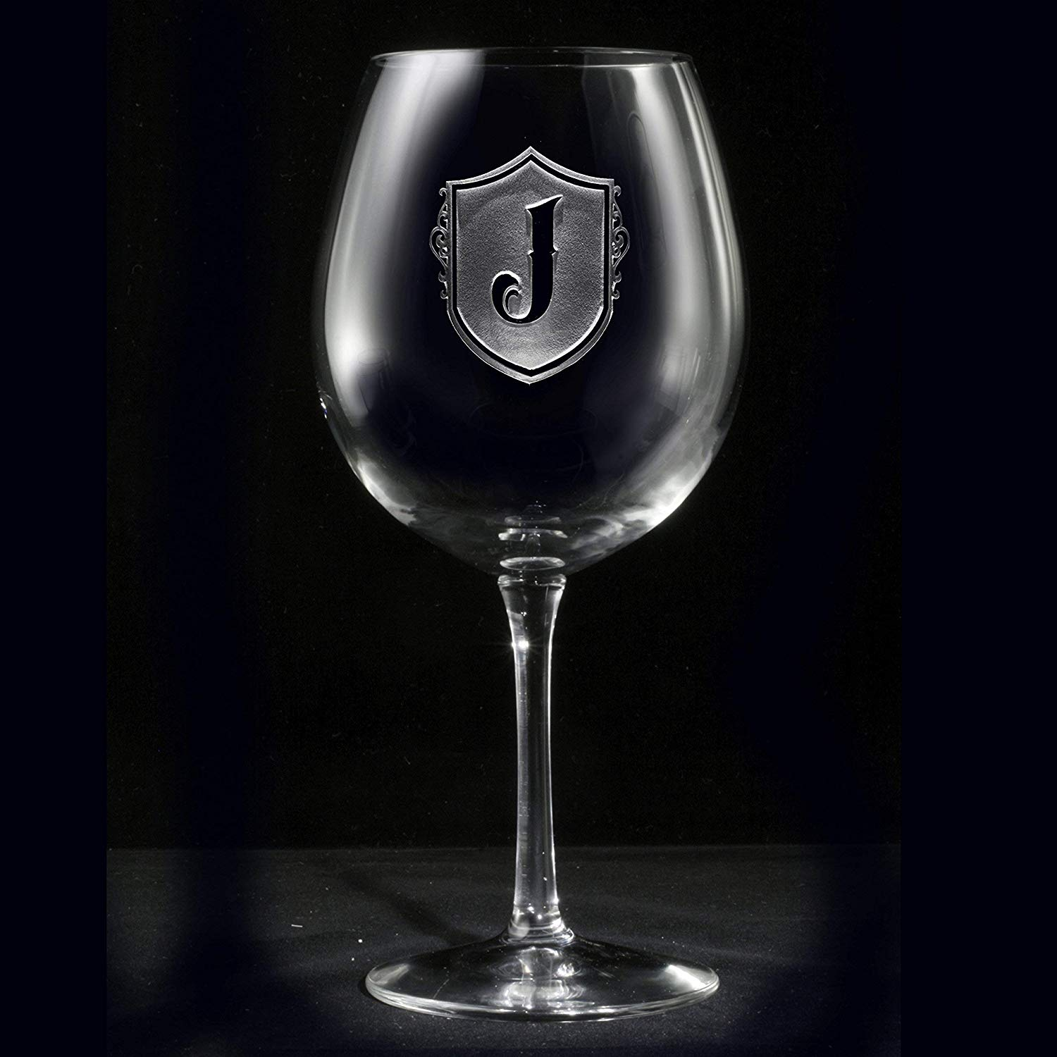 78d9a15a9eb Material Polyester. men... Get Quotations · Etched Monogrammed Shield Red  Wine Glass - One Glass (m22)