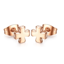 Europe and the United States jewelry wholesale, fashion rose gold earrings, cross titanium steel stud earrings YSS1128