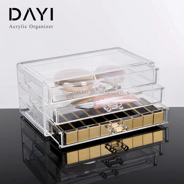 Acrylic Clear Stackable Jewelry Storage Box With 3 Drawer