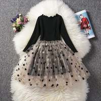 Girl tulle stars wedding party children dress wholesale high quality kids clothing