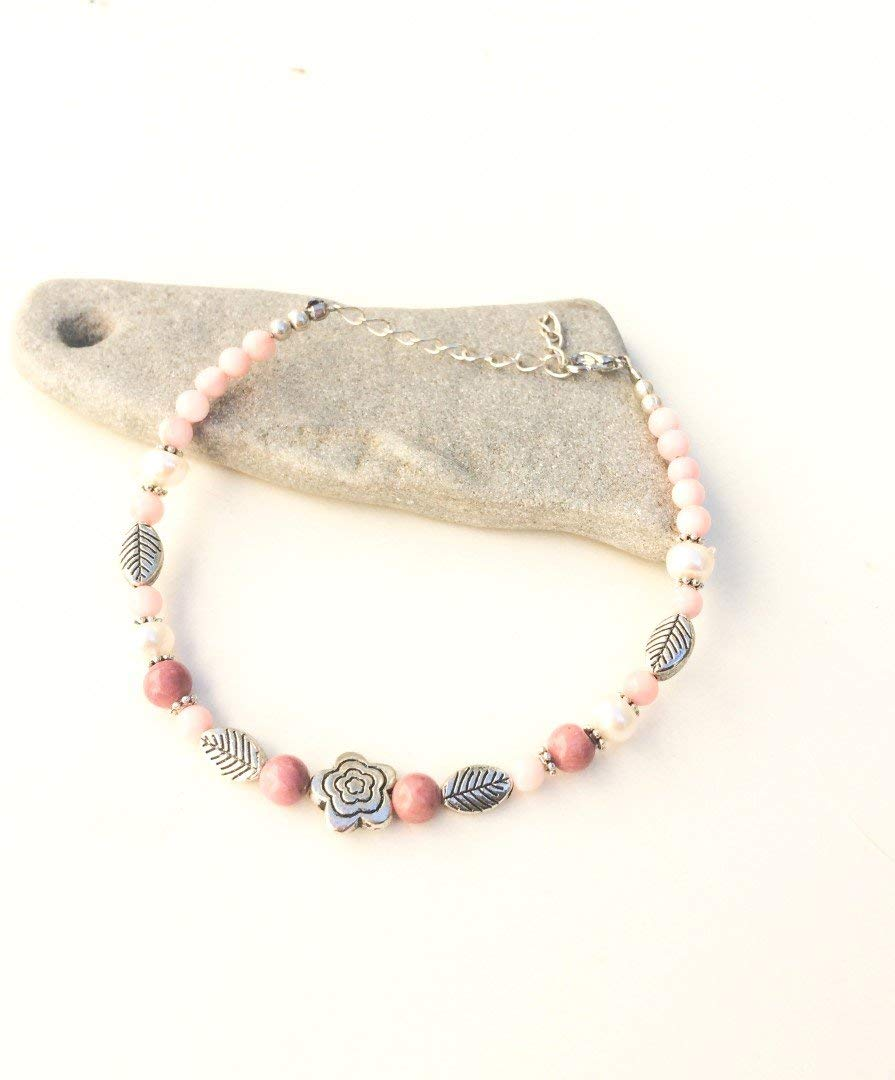 Pink Mangano Anklet, Ethnic ankle chain, Pink Calcite ankle bracelet, Silver leaves, natural pink gems & pearls, Boho, beach, gypsy, gift
