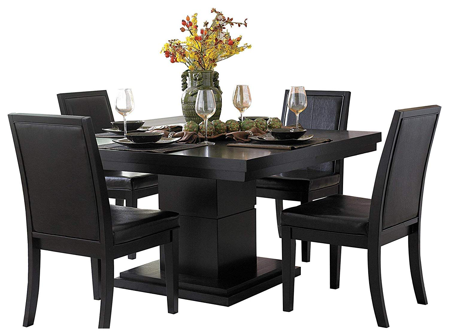 Cento Modern 5pc Dining Set Square Table 4 Chair In Black