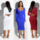 2325 pure color long sleeve hollow out autumn dresses bodycon dress for women