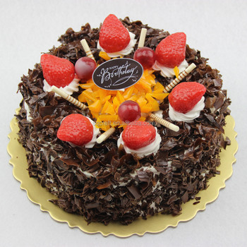 Hot Sale Fake Round Chocolate Birthday Cake Model With Fruit For Shop Decoration