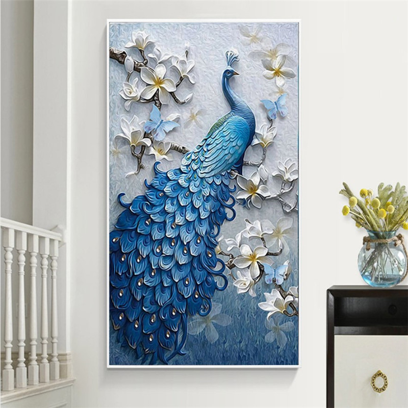 2019 hot vender popular home decor arte da parede artesanal pavão 5d DIY pintura broca de Diamante cheio de strass