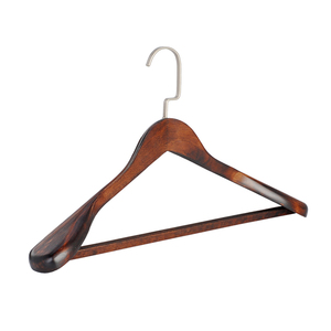 Popular custom printing logo wooden coat hangers for clothes wholesale