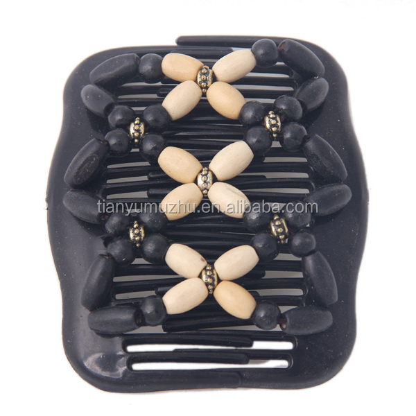 African Butterfly Style Retro Magic Wood Beads Stretchy Hair Clip ...