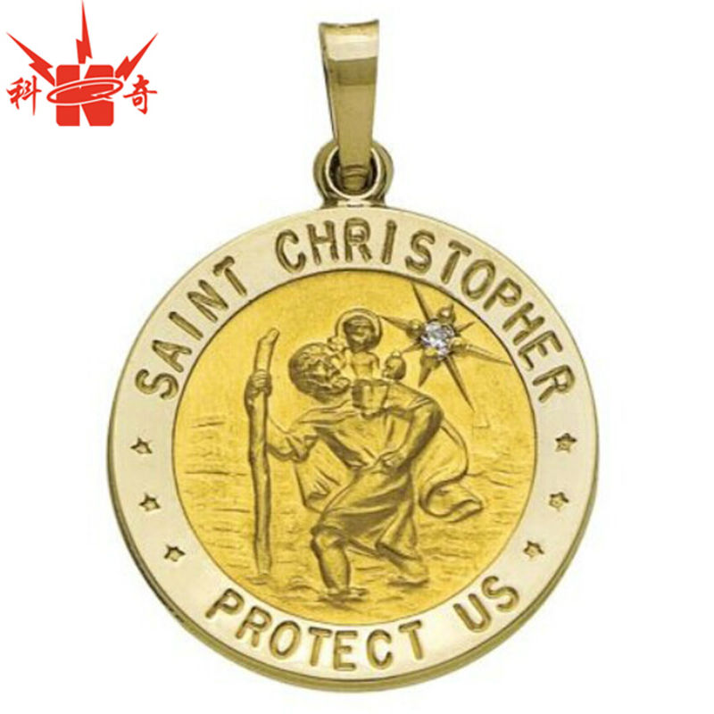 item medal large round saint stainless chain christopher silver st sterling medallion steel on description inch