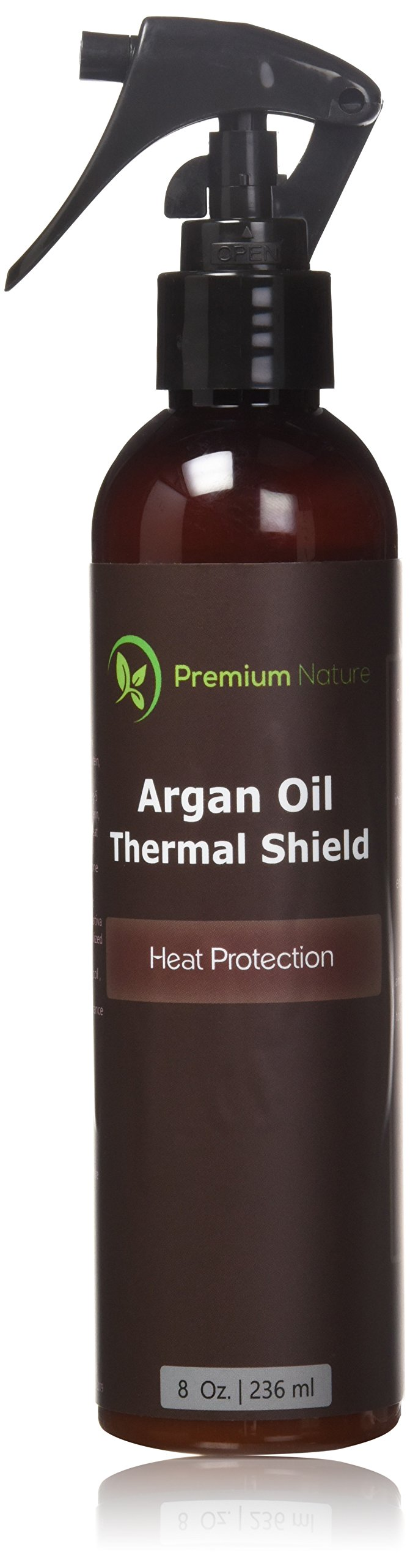 Argan Oil Hair Protector Spray - 8 oz Thermal Heat Protectant Against Flat Iron - Sulfate Free 100% Organic & Natural Prevents Damage Dryness Breakage & Split Ends Premium Nature