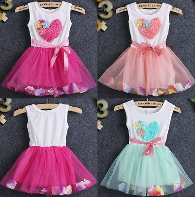 Age 1 4 Years Fashion Beautiful Newborn Baby Kids Girls Princess Love Petal Tulle font b