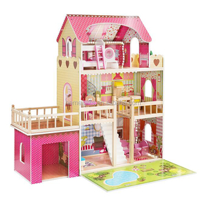 Wooden Big Doll House With 17pcs Doll House Kids Pretend Play Toy