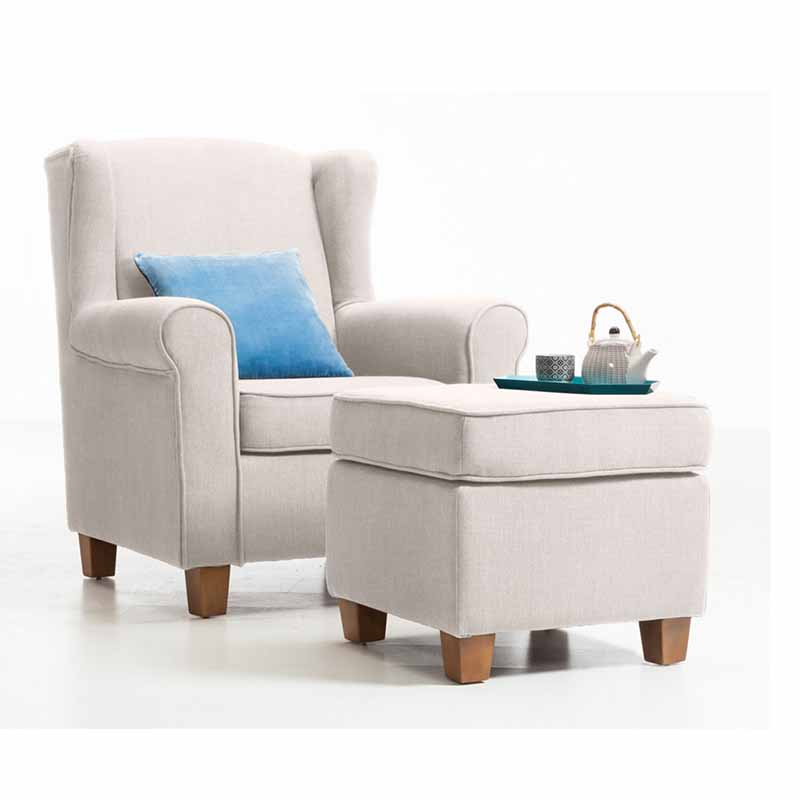 Living room fabric accent armchair with solid wood legs