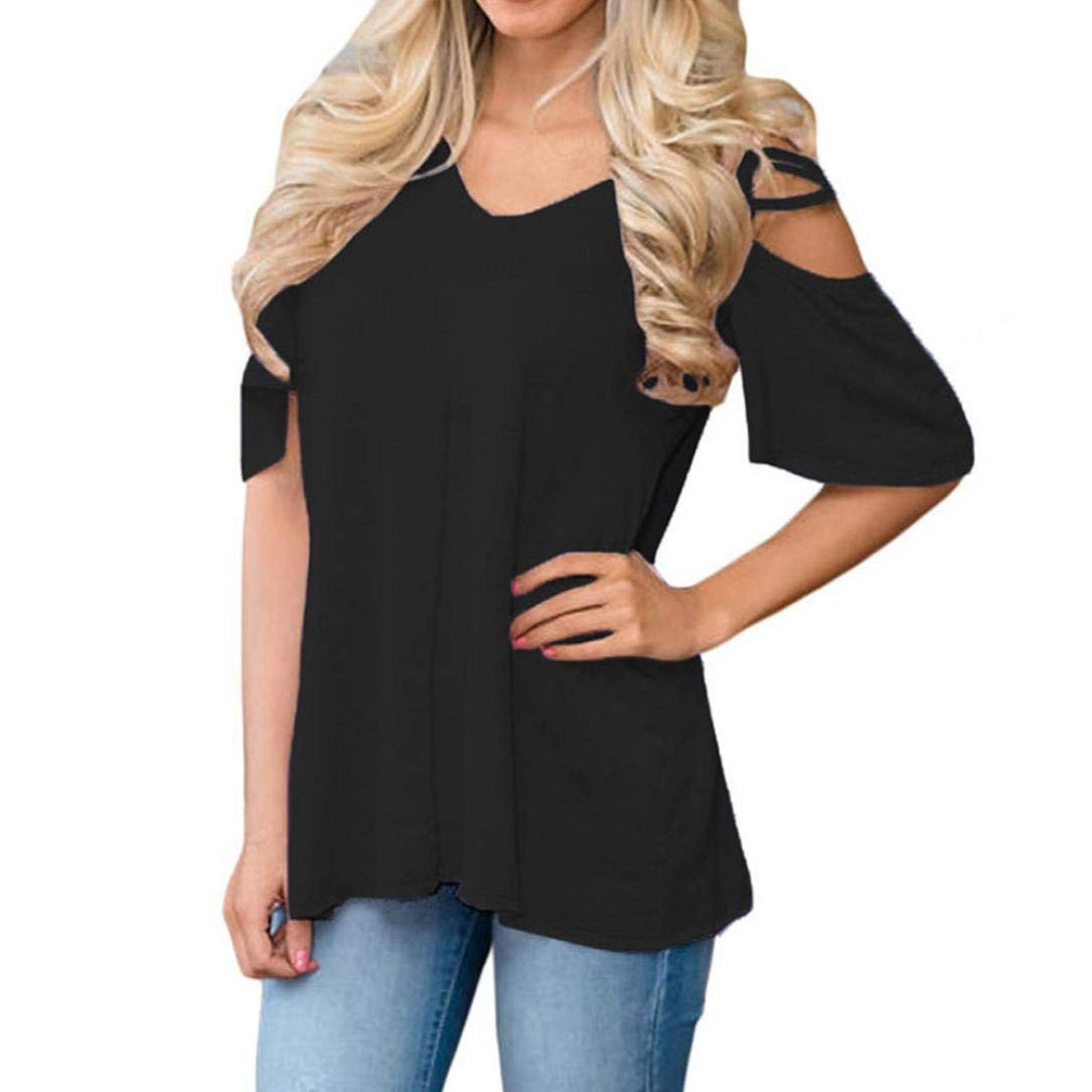 Strappy Shoulder Blouses Burgu Women's Short Sleeve Casual Solid Tops Loose Shirts Strappy V Neck Blouse Clearance Sale (L, Black)