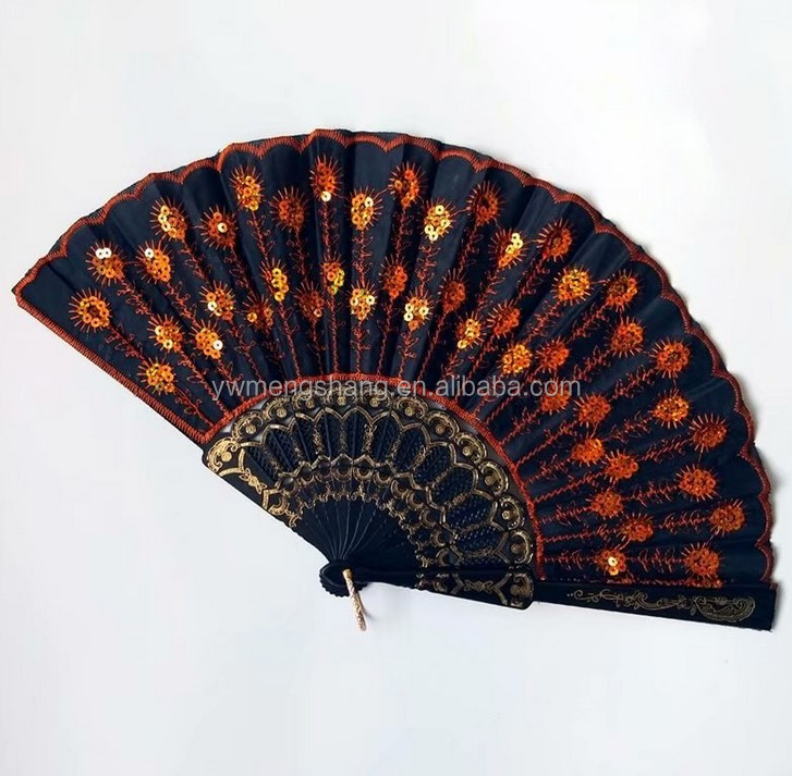 Chinese personalized bamboo silk hand fan with Organza bag