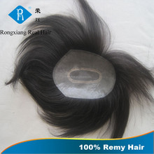 Top quality natural human hair pu injected hair toupee