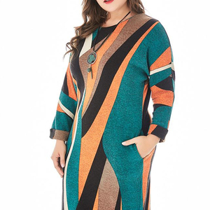 plus-size women's knit dresses are available in large European and American dress