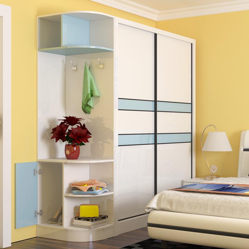 Cheap Bedroom Design Ideas Sliding Door Wardrobes: I Shape Bedroom Wall Wardrobe Design With Sliding Door