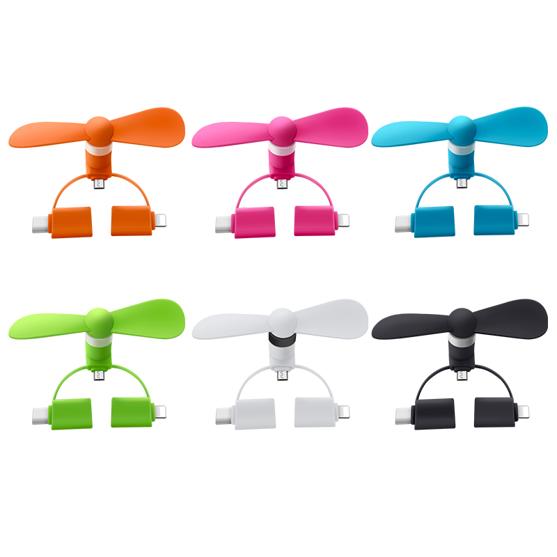 2019 Verão best seller 3-to-1 Logotipo Personalizado Mini Fan USB Para iphone android