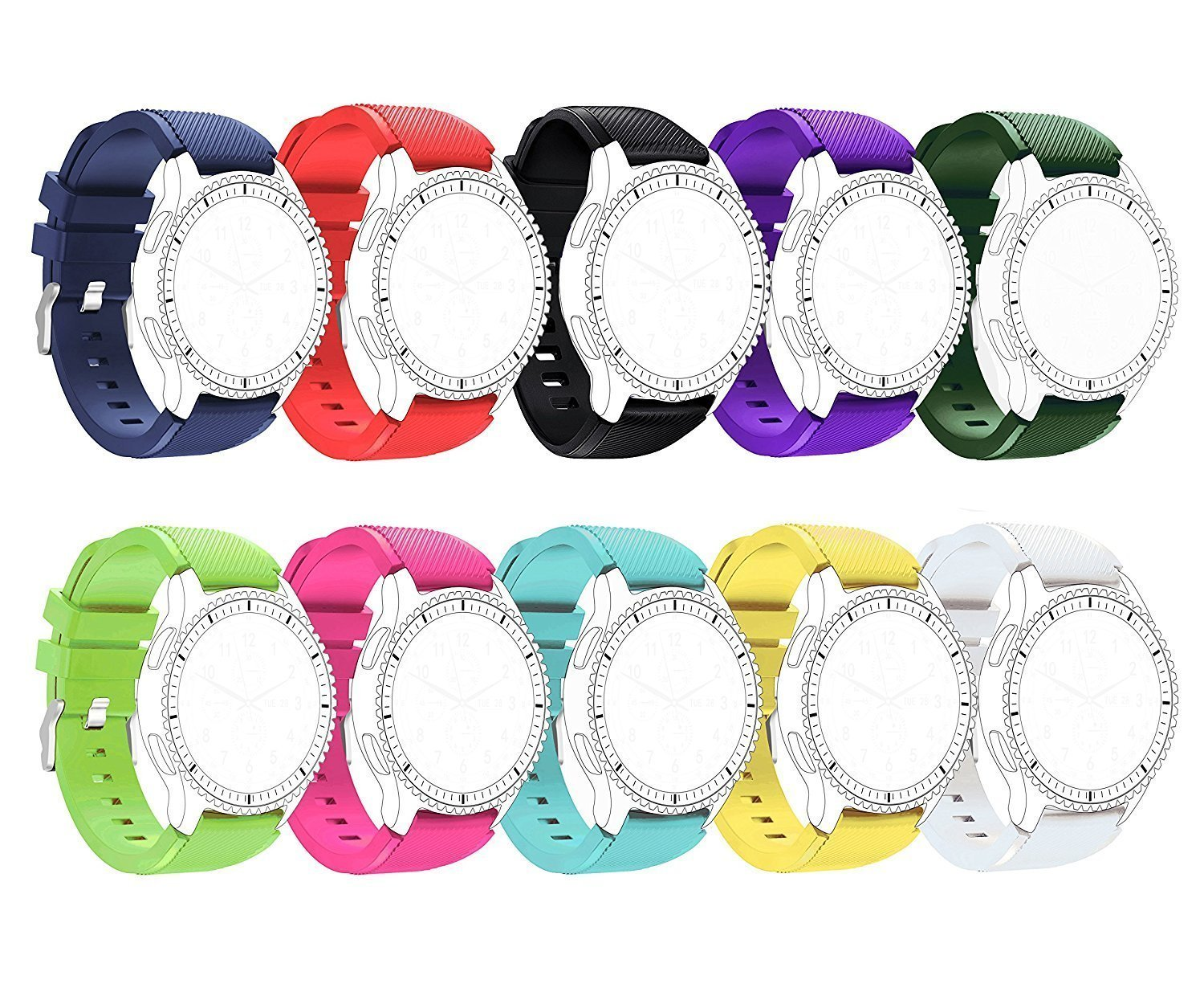 Replacement Silicone Bands for Samsung Gear S3 Frontier/Gear S3 Classic/ Galaxy Watch (46mm) SM-R800/ Moto 360 2 46mm Smartwatch Soft Sport Bracelet Strap for Samsung Gear S3 Watch (10pcs) (22mm)