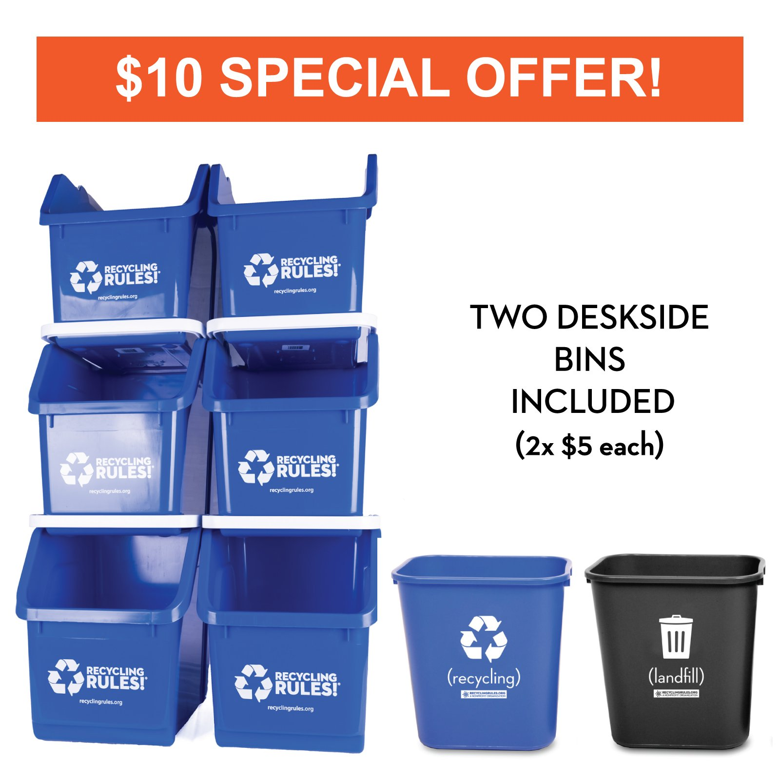 Blue Stackable Recycling Bin Container with Handle 6 Gallon - 6 Pack of Bins + 2 Deskside Bins
