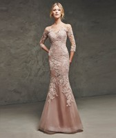 fishtail long sleeve tulle prom lace evening dress