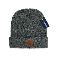 New Style Adults Melange Gray Knitted Blank Cuff Slouchy Beanie Knit Wool Blend Watch Cap Hat
