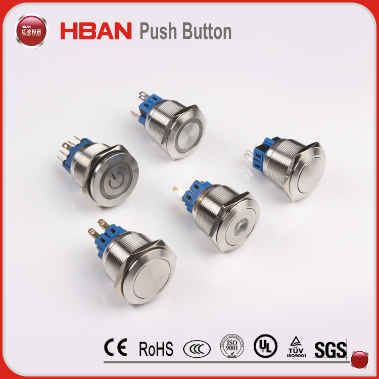 5a/250vac metal switch <strong>flat</strong> led latching push button start switch