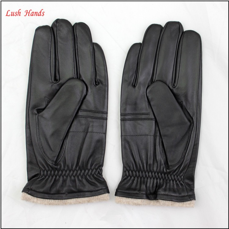 Fashion wool lining sheepskin wholesale leather mens gloves
