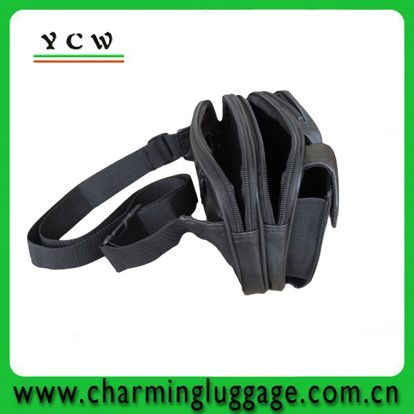 customize and wholesale leather belt fanny pack with 5 pockets