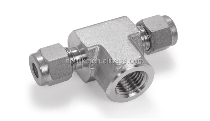 Stainless steel lok compression fitting female branch tee, tube OD X tube OD x NPT male