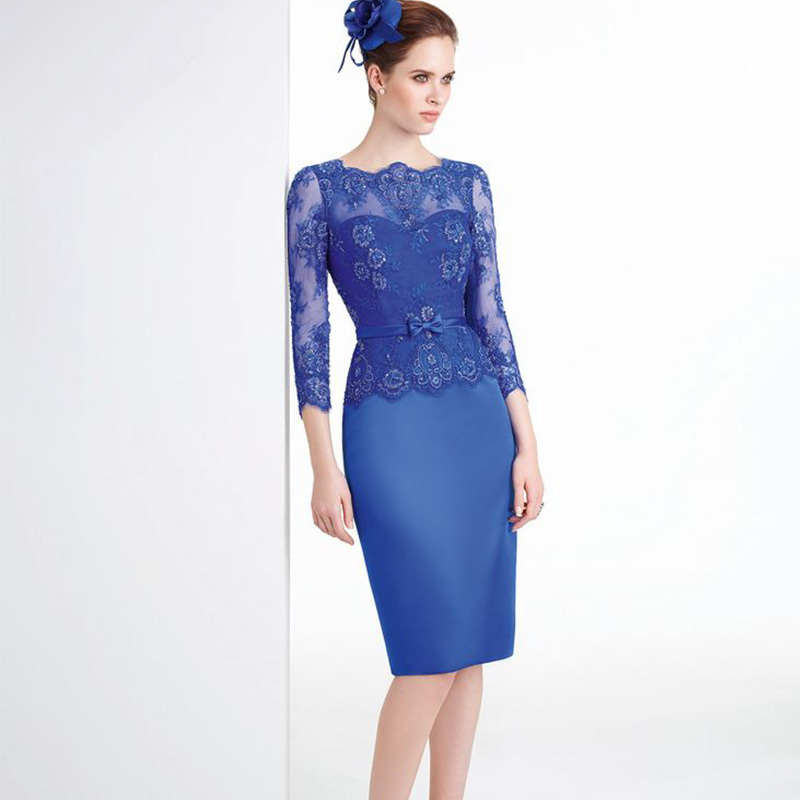 Elegant Knee Length Royal Blue Lace Mother Of The Bride